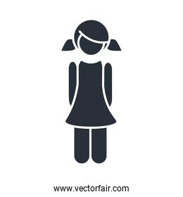 little girl daughter with pony tails hair, family day, icon in silhouette style