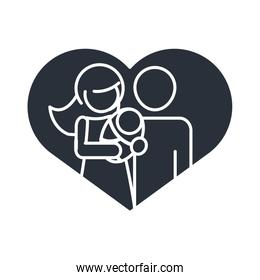 parents with baby in love heart realtionship together family day, icon in silhouette style