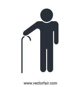 grandfather with walk stick character family day, icon in silhouette style