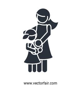 mother and daughter carrying a babay family day, icon in silhouette style