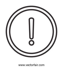 alert icon, attention danger exclamation mark precaution round sign, line style design