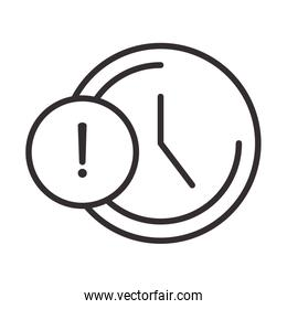 alert icon, clock time warning, attention danger exclamation mark precaution, line style design