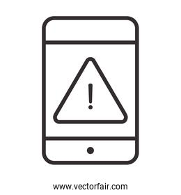 alert icon, smartphone warning sign, attention danger exclamation mark precaution, line style design
