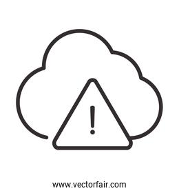 alert icon, cloud computing data warning, attention danger exclamation mark precaution, line style design