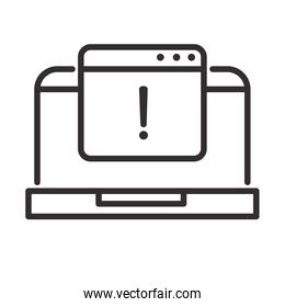 alert icon, laptop website warning, attention danger exclamation mark precaution, line style design