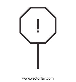 alert icon, traffic warning board, attention danger exclamation mark precaution, line style design