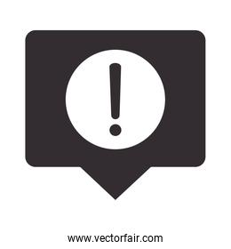 alert icon, message notification security, attention danger exclamation mark precaution silhouette style design