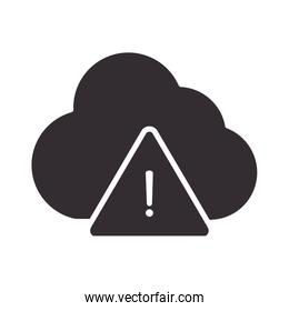 alert icon, cloud computing data warning, attention danger exclamation mark precaution silhouette style design