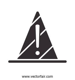 alert icon, traffic cone warning sign, attention danger exclamation mark precaution silhouette style design