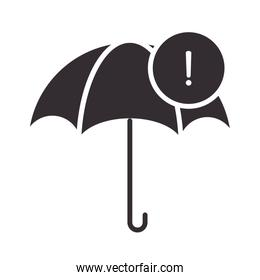 alert icon, umbrella waring, protection, attention danger exclamation mark precaution silhouette style design