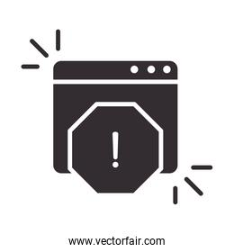 alert icon, information attention danger exclamation mark precaution silhouette style design