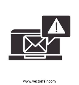 alert icon, laptop email message warning, attention danger exclamation mark precaution silhouette style design