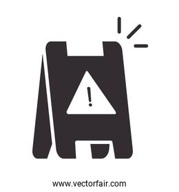 alert icon, warning board, attention danger exclamation mark precaution silhouette style design