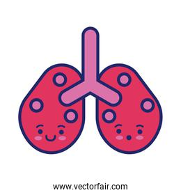 lungs with covid19 virus particles kawaii line style