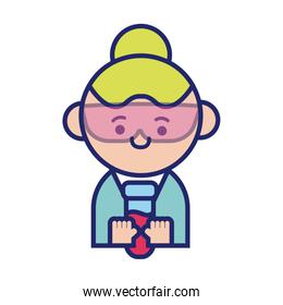 scientific female with tube test kawaii line style