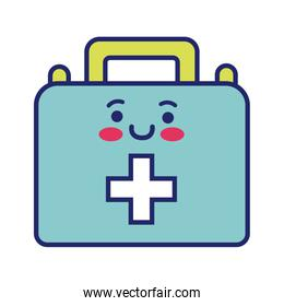 medical kit with cross kawaii line style