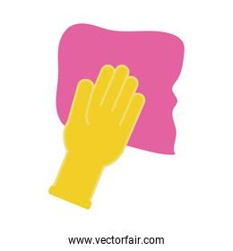 hand with absorbent towel flat style icon