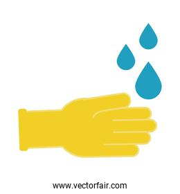 rubber gloves with drops flat style icon
