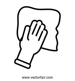 hand with absorbent towel line style icon