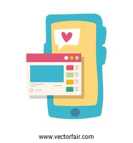 smartphone online things with webpage flat style