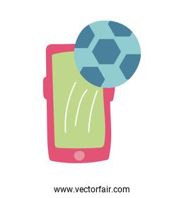 smartphone online things with soccer balloon flat style