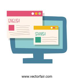 desktop with traductor website flat style