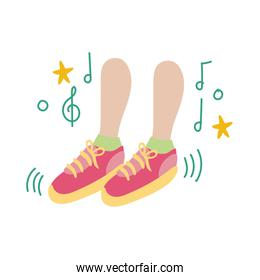 foots dancing with music notes flat style