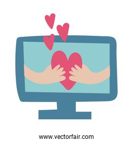 desktop with hands lifting hearts flat style icon