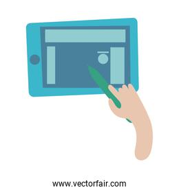 smartphone online things with hand using pencil flat style