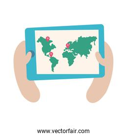 smartphone online things with earth planet maps flat style