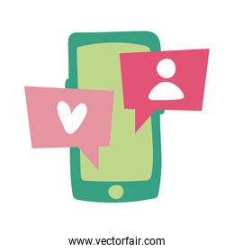 smartphone online things with chat flat style