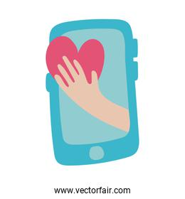 smartphone online things with heart flat style