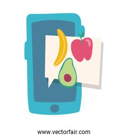 smartphone online things with vegetables flat style