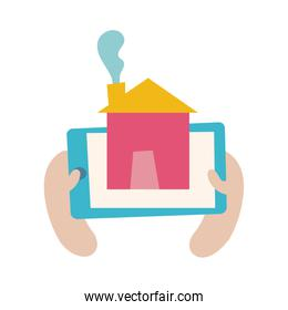 smartphone online things with house flat style