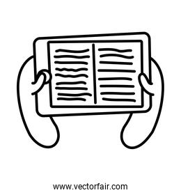 smartphone online things with ebook line style