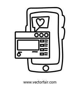 smartphone online things with webpage line style