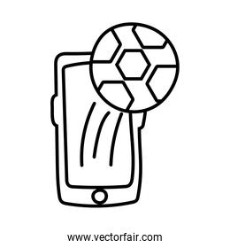 smartphone online things with soccer balloon line style
