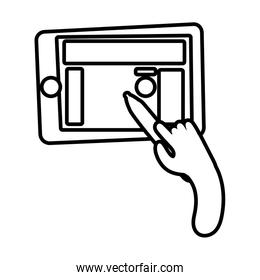 smartphone online things with hand using pencil line style