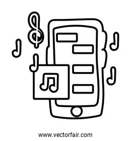 smartphone online things with music line style