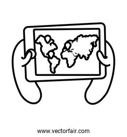 smartphone online things with earth planet maps line style