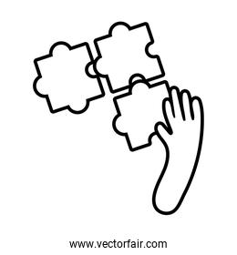 hand with puzzle line style