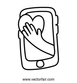 smartphone online things with heart line style