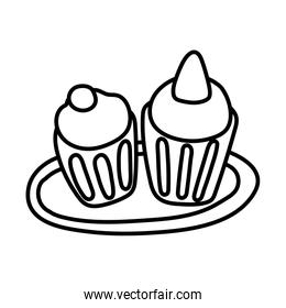 sweet cupcakes line style icon