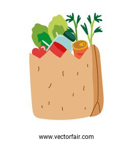 groceries in paper bag free form style