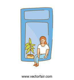 woman seated in apartment window with houseplant for quarantine free form style