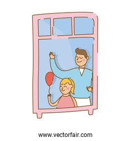 father and daughter with balloon helium in apartment window for quarantine free form style