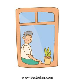 man seated in apartment window for quarantine free form style over white