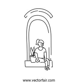woman seated in apartment window with houseplant for quarantine linear style