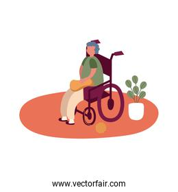 eldery man in wheelchair at home activity free form style