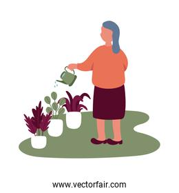 eldery woman care plants in home activity free form style